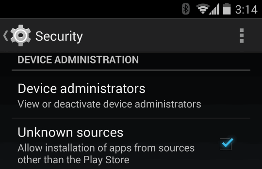 Screenshot of the Android security setting that allows installation of non-Play Store apps