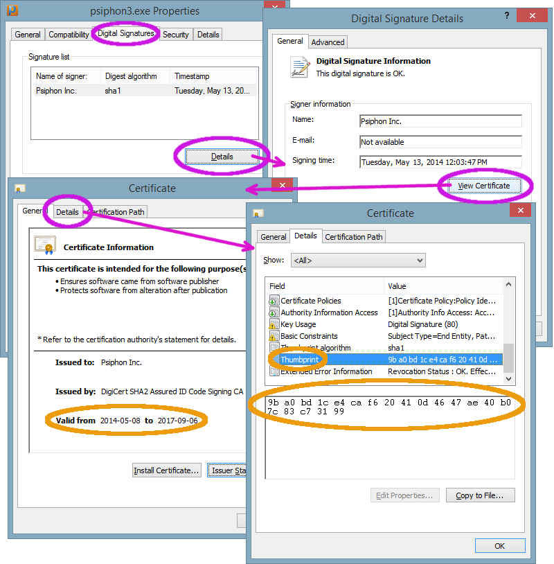 Image showing how to check the Psiphon executable signature on Windows